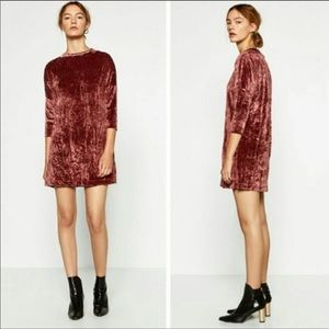 Zara Crushed Velvet Mock Neck Dress